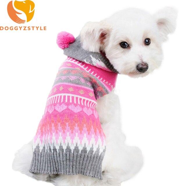 Colorido HOODIE raya tejer lana invierno cálido suéter ropa de perro ...