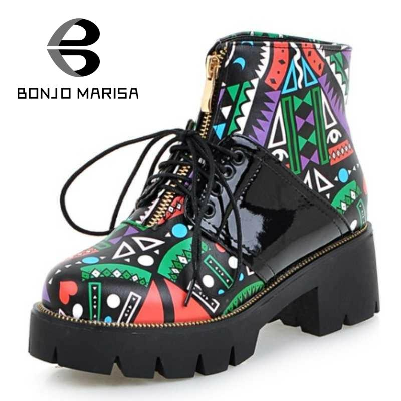 ФОТО BONJOMARISA Hot Sale Women Ankle Boots Stylish Printing Lace Up Round Toe Shoes Ladies Autumn Winter Square Heel Boots