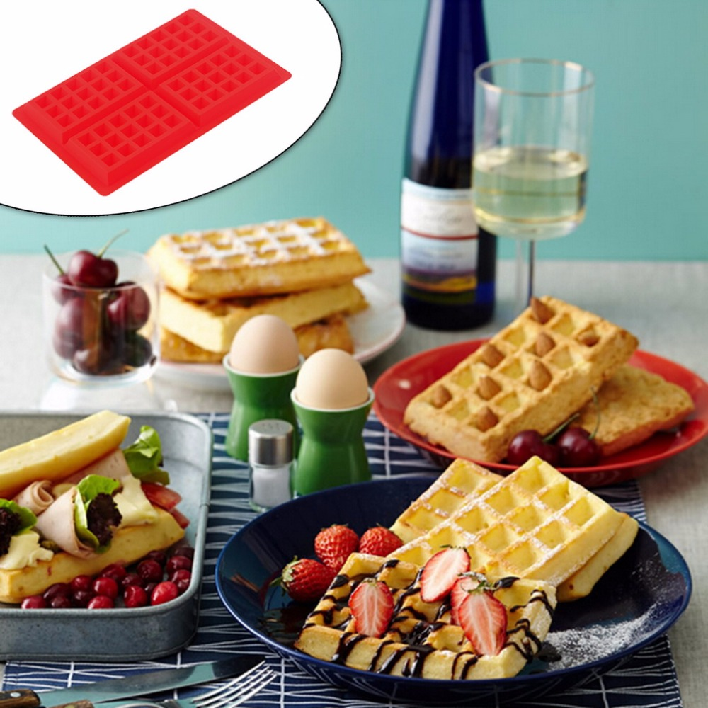 New waffle maker Mould Safety 4-Cavity Waffles Cake Chocolate Pan Silicone Mold Baking Bakeware Kitchen Baking & Pastry Tools sp99022 round shape silicone diy mold tray for muffin cake dessert chocolate pudding brown