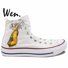 Wen Design Custom Anime Hand Painted Shoes Soul Eater Death the Kid White High Top Men Women's Canvas Sneakers