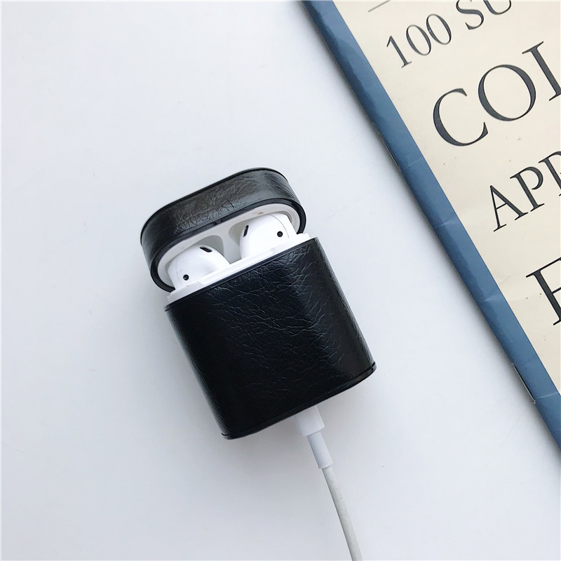 Leather Case For AirPods 2 Genuine Bluetooth Wireless Earphone Case Cover For Apple Airpods Case Leather Protective Box Funda in Earphone Accessories from Consumer Electronics