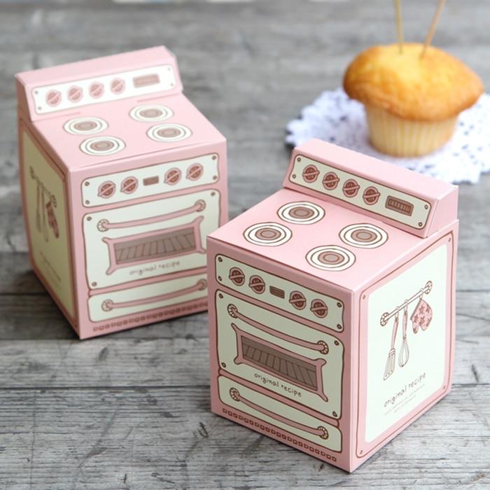 hot sale 8.5*8.5*8.5cm 10 Pcs fun oven design Paper Box cupcake candy Muffin cake choclate sweet snacks bake packaging