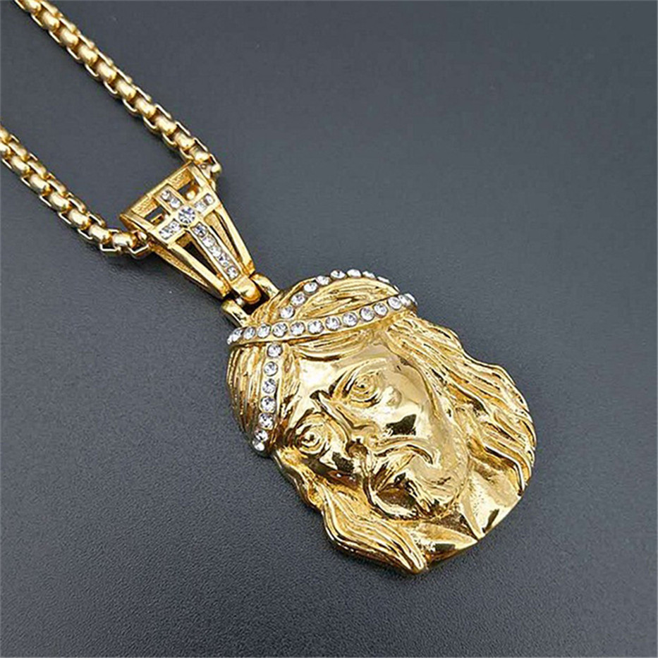 Hip Hop Necklace Stainless Steel Gold Color Iced Out Chains Cross Jesus Head Pendant Necklace For Men/Women Gifts