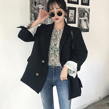 Womens suit jacket autumn new Korean version loose straight casual professional interview black