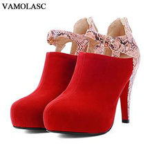 VAMOLASC New Women Autumn Winter Warm Faux Suede Ankle Boots Sexy Zipper Thin High Heel Martin Boots Platform Buckle Women Shoes