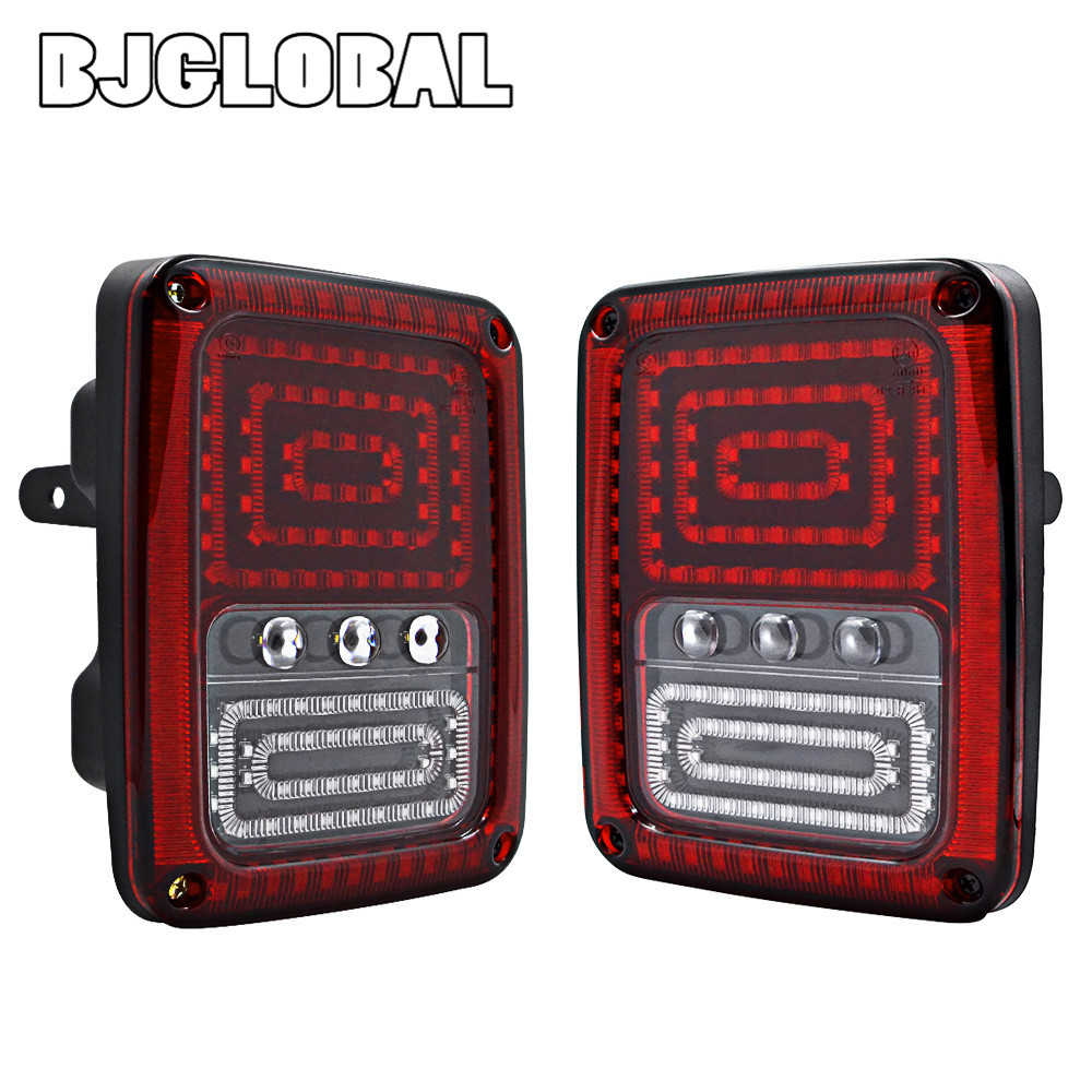 EU/US Type Car LED Tail Light Running/ Turn/ Brake/ Reverse Tail Lights For Jeep Wrangler JK 2 Doors Unlimited 4 Doors 07-16 2pcs tail light lamp 4th generation eu for jeep wrangler 07 17 led bar brake running reverse taillight car styling accessories