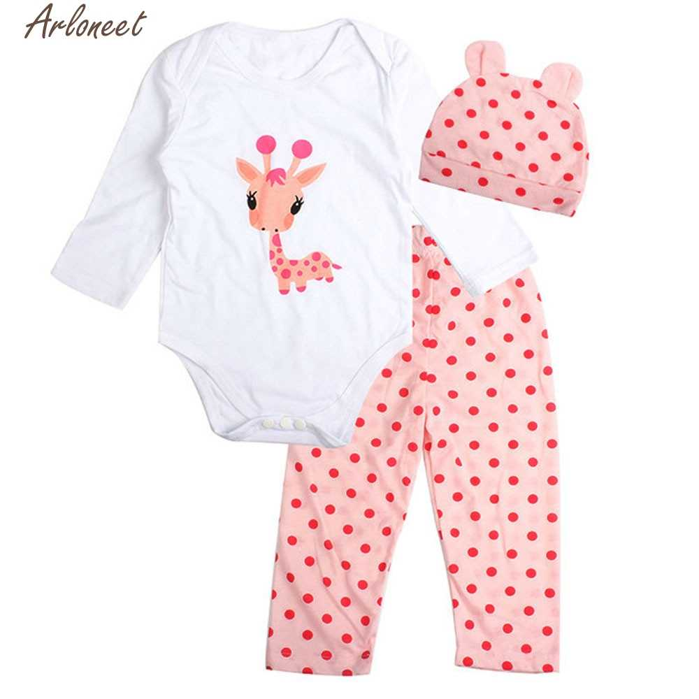 ARLONEET Baby Clothes 3pcs Toddler Baby Boy Girl Animal Print Clothes Set Baby Girl Clothes Winter Romper Outfits QF21