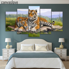 5 piece canvas art tiger art animal poster wall pictures for living room wall art canvas painting free shipping up-1488A