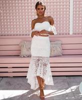 High Quality White Black Slash Neck Lace 2 Pieces Set Rayon Bandage Dress Evening Party Noble Dress