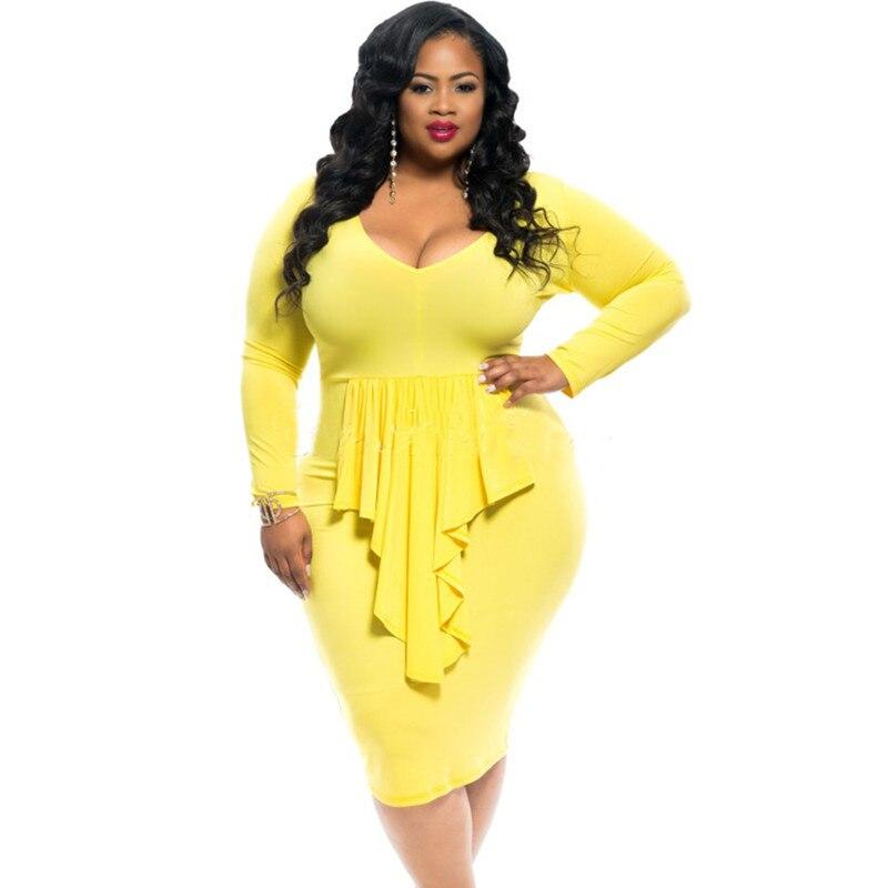 2016 Plus Size Women Tassels Dresses autumn Sexy Bodycon Long sleeve Dress XXXL yellow V-neck Party dress