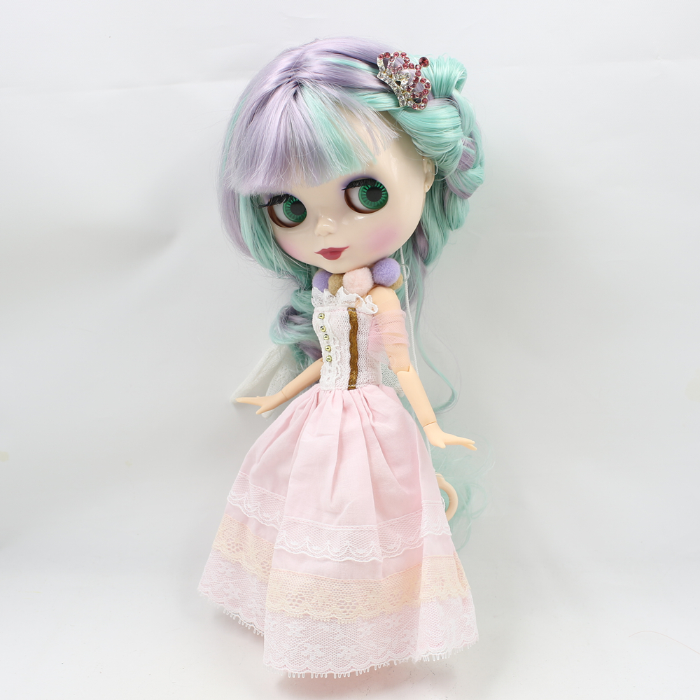 Nude Blyth bjd 1/6 Doll Purple mix mint long hair with joint body doll toys for chidlren ness optimum evaflor