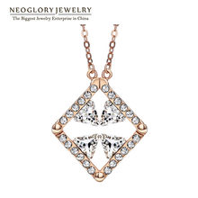 Neoglory Auden Rhinestone Rose Gold Color Austrian Crystal Fashion Link Chain Necklaces & Pendants for Brand Jewelry 2018 SQC(China)