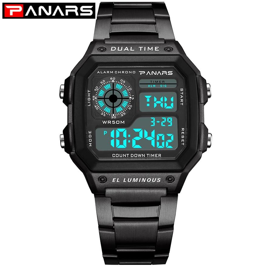 3d60d7ca42a PANARS Homens Esportes Relógios de Contagem Regressiva do Relógio Em Aço  Inoxidável Moda relógios de Pulso