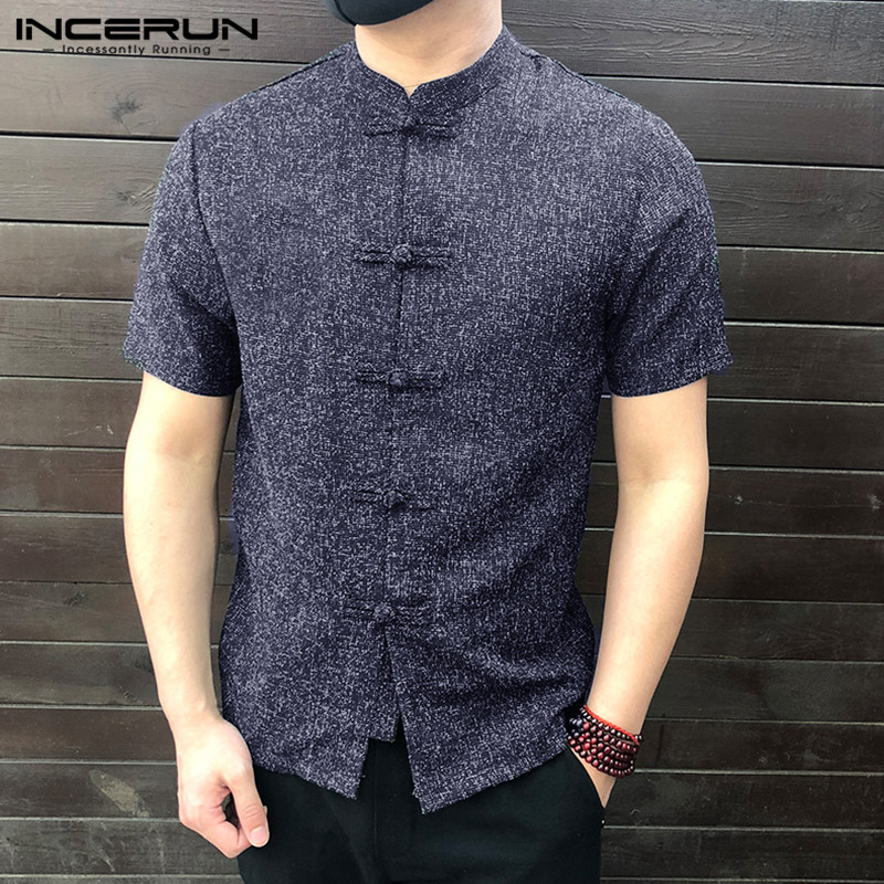 Chinese Style Men Shirt Button Stand Collar Short Sleeve Casual 4