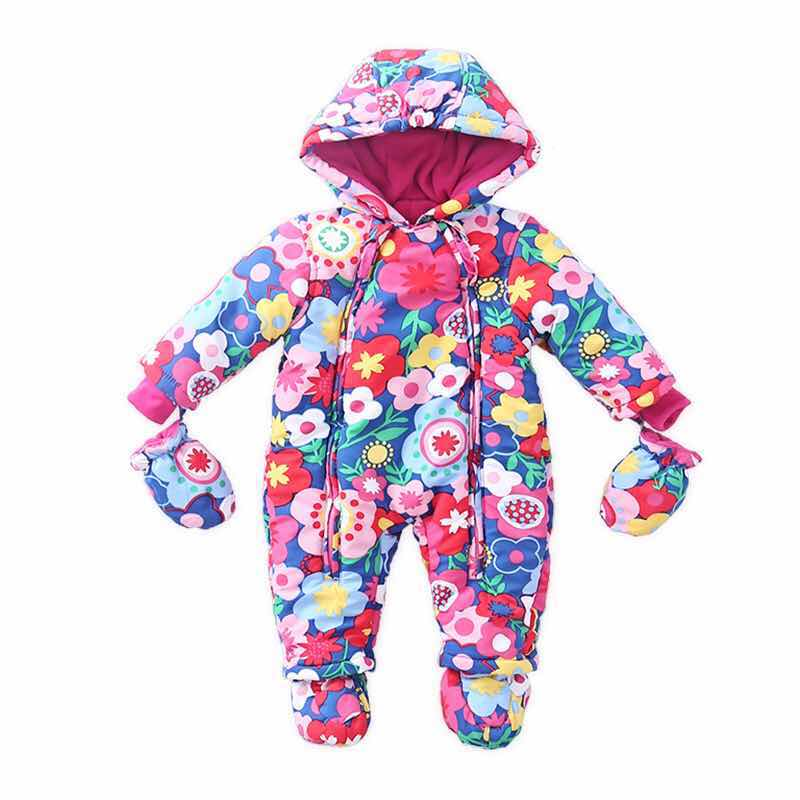 2018 New Winter Baby Romper Newborn Colorful Warm Autumn Overalls Baby Snowsuit Hot Baby Suit Cute Hooded Baby Jumpsuit Romper