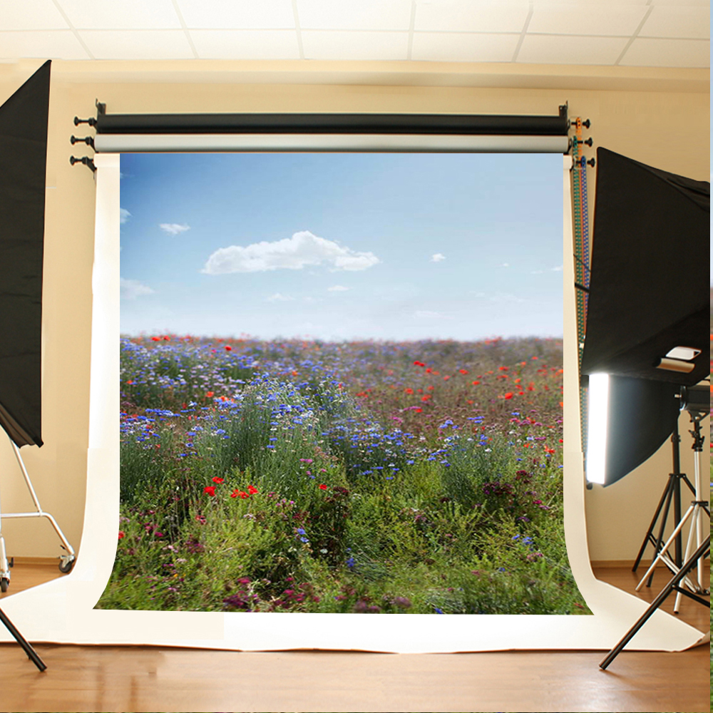 Wedding Photography Backdrops Flowers and Grassland Party Photo Background Blue Sky White Clouds Backdrops for Photography
