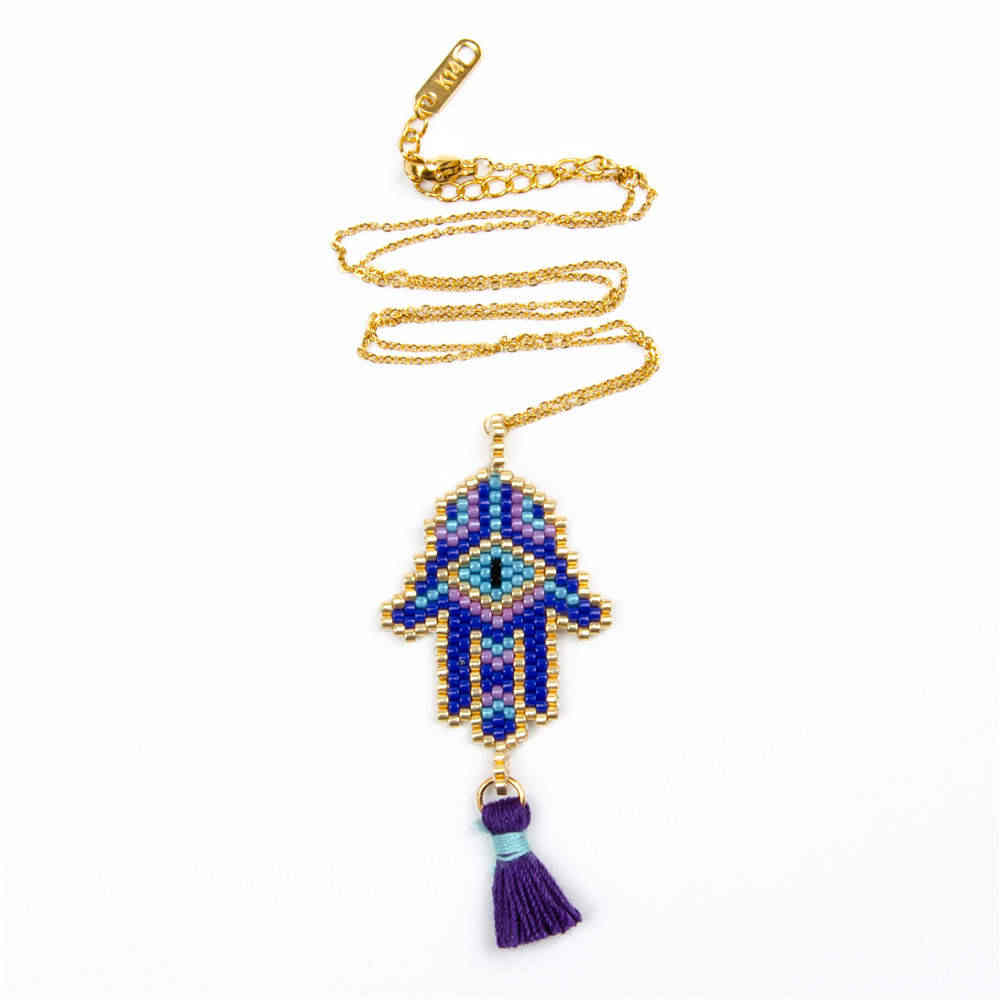 Go2boho Evil Eye Necklace MIYUKI Gold Chain Necklaces Jewelry Delica Beads Fatima Hamsa Hand 2019 Women New Tassel Handmade Gift