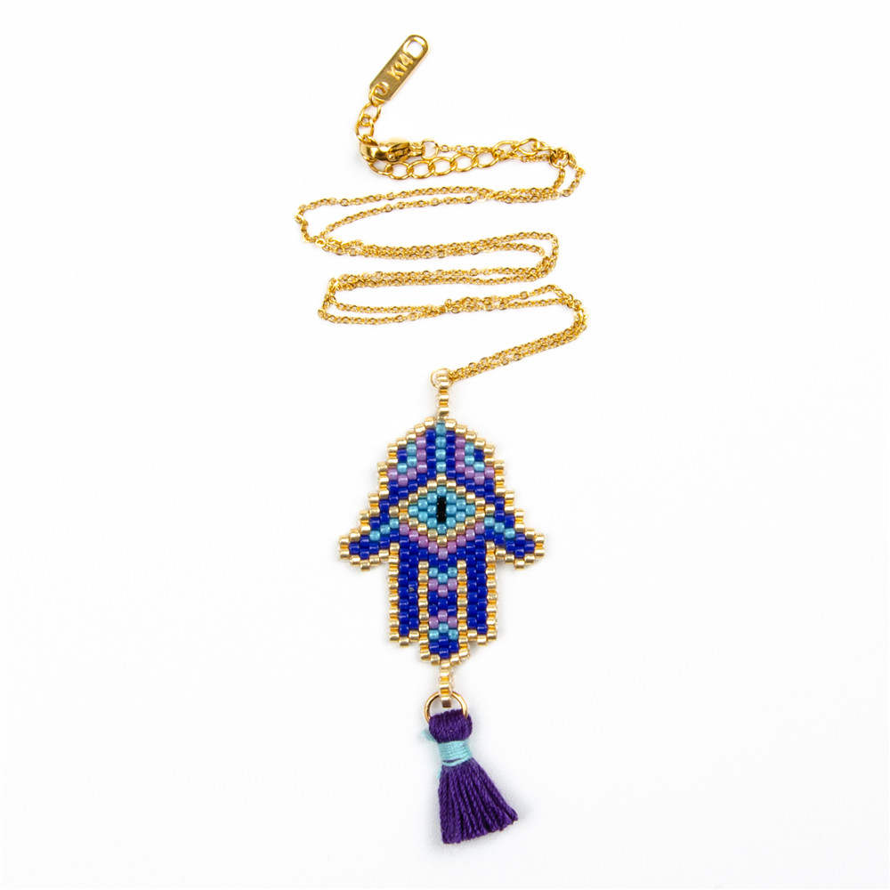 Go2boho Evil Eye Necklace MIYUKI Gold Chain Necklaces Jewelry Delica Beads Fatima Hamsa Hand 2019 Women New Tassel Handmade Gift Ожерелье