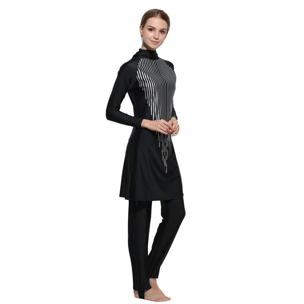 Modest Full Cover Muslim Swimwear Plus Size Female Swimsuit Beach Bathing Suit Burkinis for Muslim Girls Sequins plus size