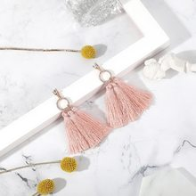 FUNIQUE Brand 11 Styles Luxury Letter Pendant Earring Jewelry 2018 Boho Women Long Tassel Earring Shiny Rope Frige Drop Earring(China)