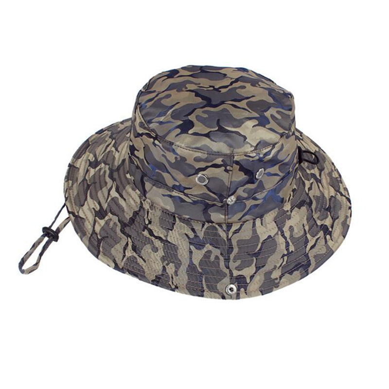 b6f8667503c Summer Wide Brim Unisex Camouflage Sun Hats Bucket Hat Women Anti-UV Beach  Caps Men s