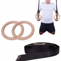 Hot 2Pcs New Wooden 28mm Hanging Ring Exercise Fitness Gymnastic Rings Gym Exercise Crossfit Pull Ups