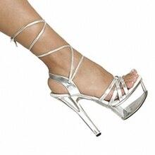 15cm high-heeled footwear attractive platform skinny heels ladies's footwear 6 inch summer season cross strap sandals crystal footwear