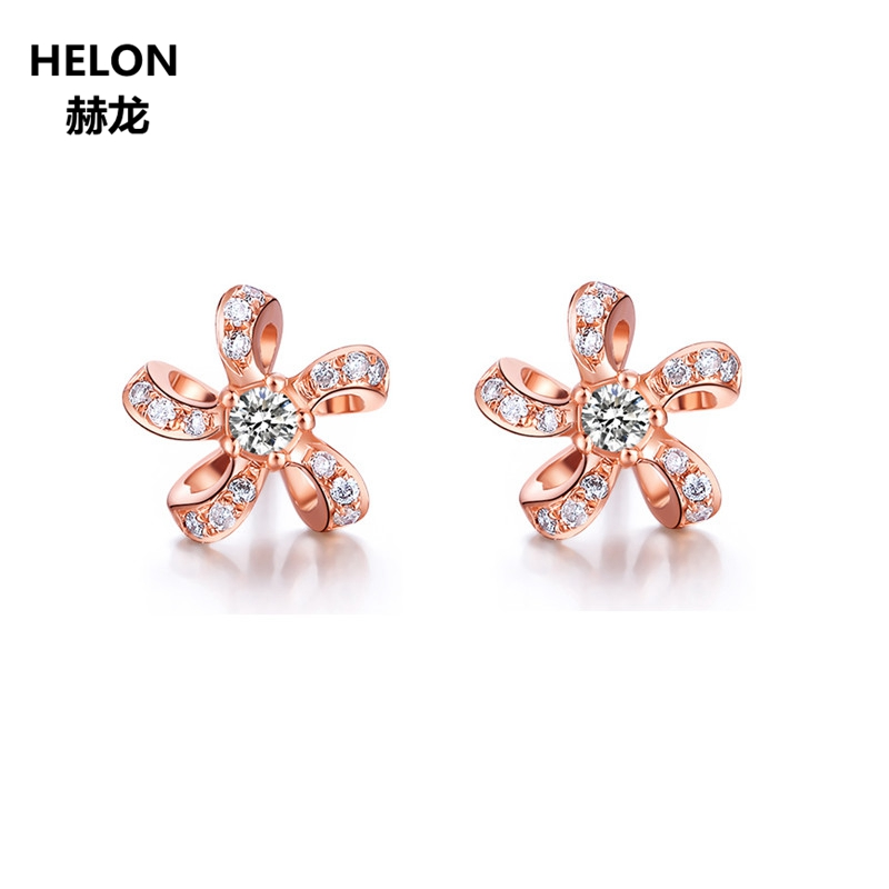 Solid 14k Rose Gold Earrings for Women 0.15ct Natural Diamonds Stud Earrings Fine Jewelry Trendy Unique 0 28 ct natural diamonds earrings solid 14k white gold snow shape charm jewelry