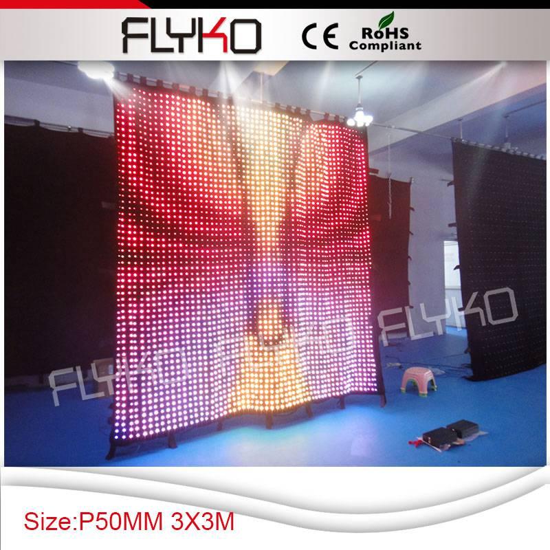 P5 3x3 m rgb polychrome led lumières décoratives rideau lumière flightcase paquet