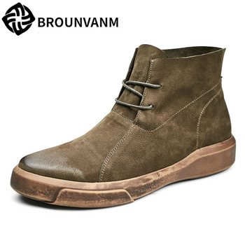 Riding boots trend all-match male Vintage shoes men boots autumn winter British retro cowhide breathable casual boots Leisure