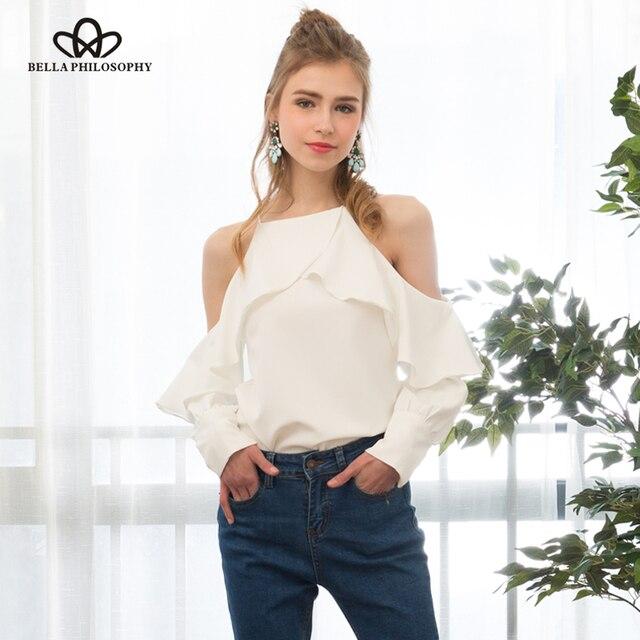 Bella Philosophy 2017 новая коллекция весна лето холтер шеи платье холодной с плеча оборками с длинными рукавами женщины шифон блузка рубашка