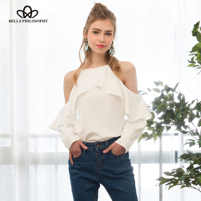 Bella philosophy 2017 nova primavera verão halter pescoço cami frio fora do ombro ruffles longo-de mangas compridas mulheres camisa blusa chiffon
