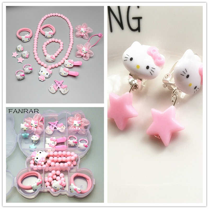 6da02c08f ... FANRAR Kids Mixed Jewelry Set Girl Cute Pink Hello Kitty Imitation  Pearls Necklace Baby Bracelet KT ...
