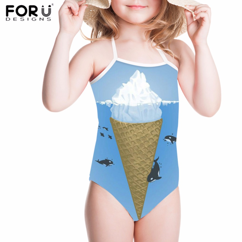 FORUDESIGNS Swimwear for Girls Children Swimsuits Sport Cute Ice Cream Printing Kid Swimsuit One Piece Bathing Suit Baby Bikinis forudesigns one piece swimsuit for girls children swimwear friuts strawberry printing bathing suit baby bikinis kids swim suits