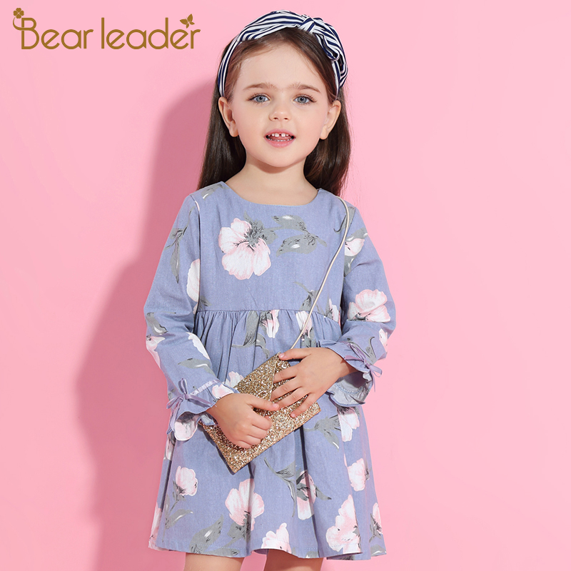 Bear Leader Girls Dress 2017New Brand Print Princess Dress Autumn Style Petal Sleeve Flowers Print Design For Children Clothes cat print hooded dress