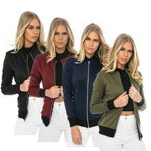 Casual Zipper Women Bomber Jacket Long Sleeve Spring Female Slim Short Coat Fashion Brief Feminine Ladies Summer Outerwear