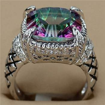 Fleure esme bezel setting rhodium plated rings rainbow and white cubic zirconia r3285 size #6 7 8 9 noble generous new arrivals