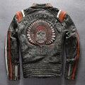 Avirex Fly vintage skull genuine leather motorcycle jacket men slim fit fashion leather jacket men black moto biker jacket male
