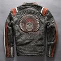 Avirex fly vendimia cráneo genuino cuero de la motocicleta chaqueta de cuero chaqueta de los hombres slim fit moda hombres negro moto biker chaqueta masculina