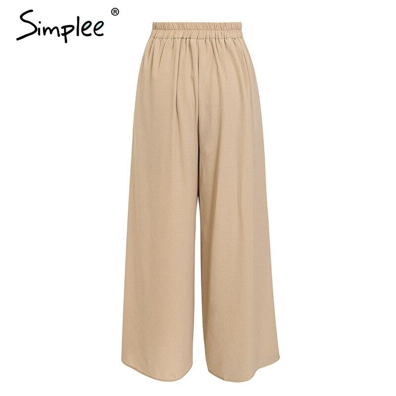 Simplee Elegant women summer pants Wide leg elastic high waist split trousers Casual streetwear fashion female palazzo pants 7