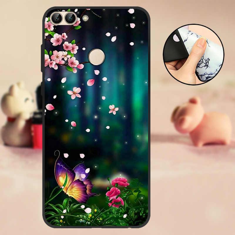 """Для huawei P Smart чехол-бампер 5,65 """"для huawei P Smart чехол для телефона 2018 TPU черный мягкий силиконовый чехол FIG-LX1 с цветами"""