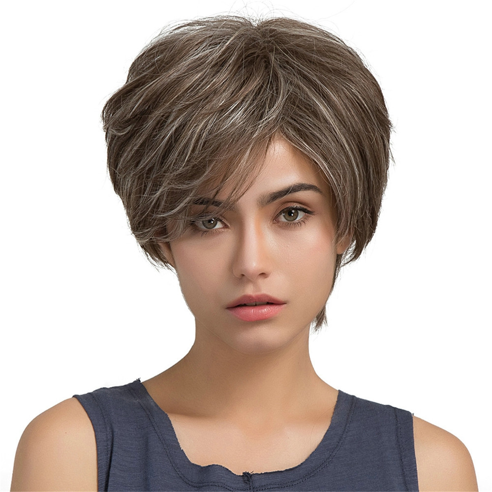 Short Wig Female Wigs Fashion Brown Side Fringe S Curly Lace Hair Wave Human Hair0928 stylish short capless side bang synthetic fluffy brown highlight curly bump wig for women