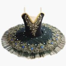 Черные Профессиональные балетные пачки для девочек; детское балетное платье с Лебединым озером; Одежда для танцев; Блинные балерины; платье для фигурного катания