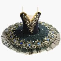 Black Professional Ballet Tutus For Girls Child Swan Lake Ballet Dress Dance Clothes Pancake Ballerina Figure Skating Dress