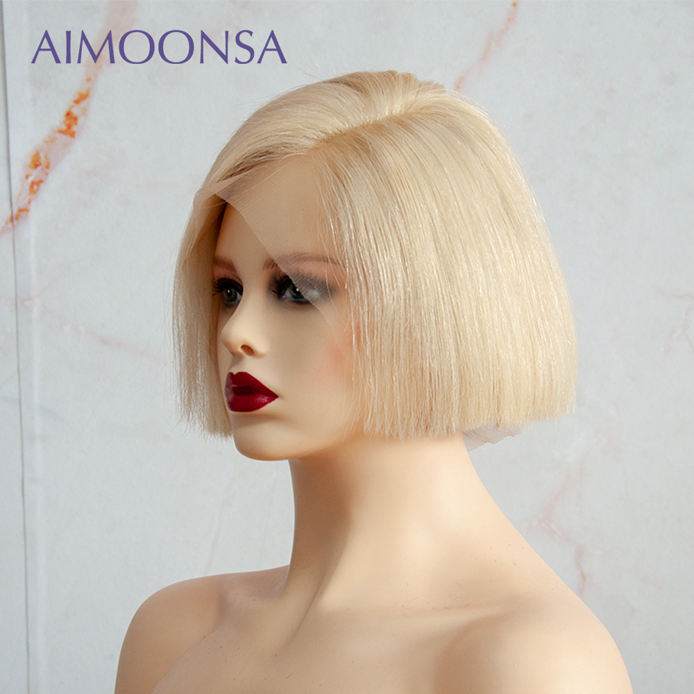 Pixie Cut Wig 613 Bob Wig Blonde Lace Front Wig 613 Short Blunt Cut Human Hair Wig Straight Preplucked Transparent Lace Remy