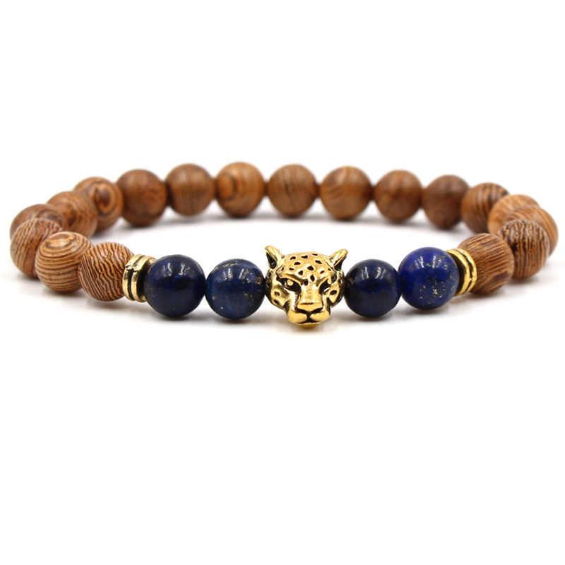 צ 'אקרת עתיק כסף מצופה בודהה Leopard ראש צמיד לבה טבעי אבן חרוזים צמידי גברים נשים Pulseras סיטונאי