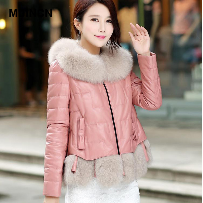 Big fur winter coat thickened   parka   women stitching casual winter coat down cotton ladies down   parka   down jacket women