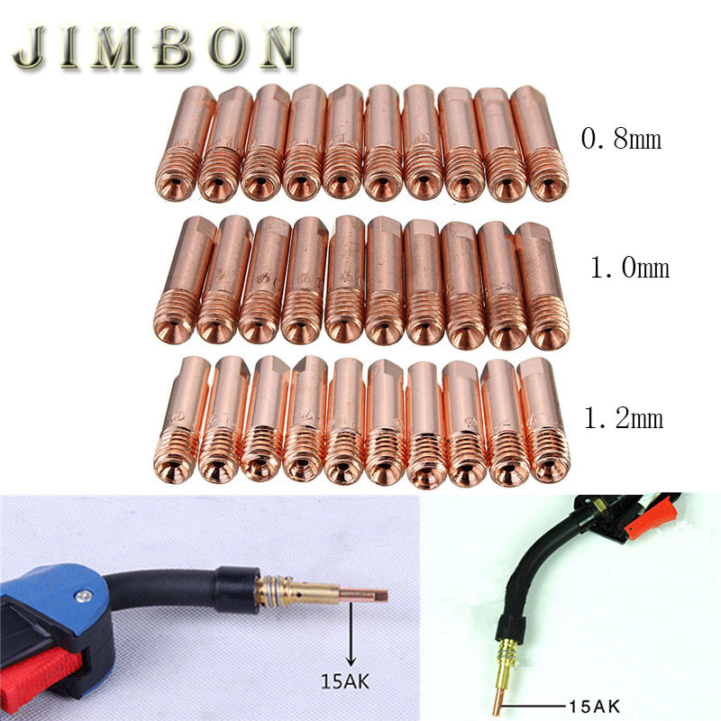 10pcs/set MB 15AK Mig Mag Welding Weld Torch Contact Tips Holder Gas Nozzle Gold 0.8*25mm/1.0*25/1.2*25mm