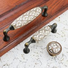 3.75'' 5'' Ceramic Kitchen Cabinet Pulls Handles Knobs Blossom Dresser Drawer Knobs Pulls Antique Bronze Rustic Door Handle Knob 2 5 5 unique white ceramic door handles pulls antique bronze drawer knobs dresser handles cupboard pull kitchen cabinet knob