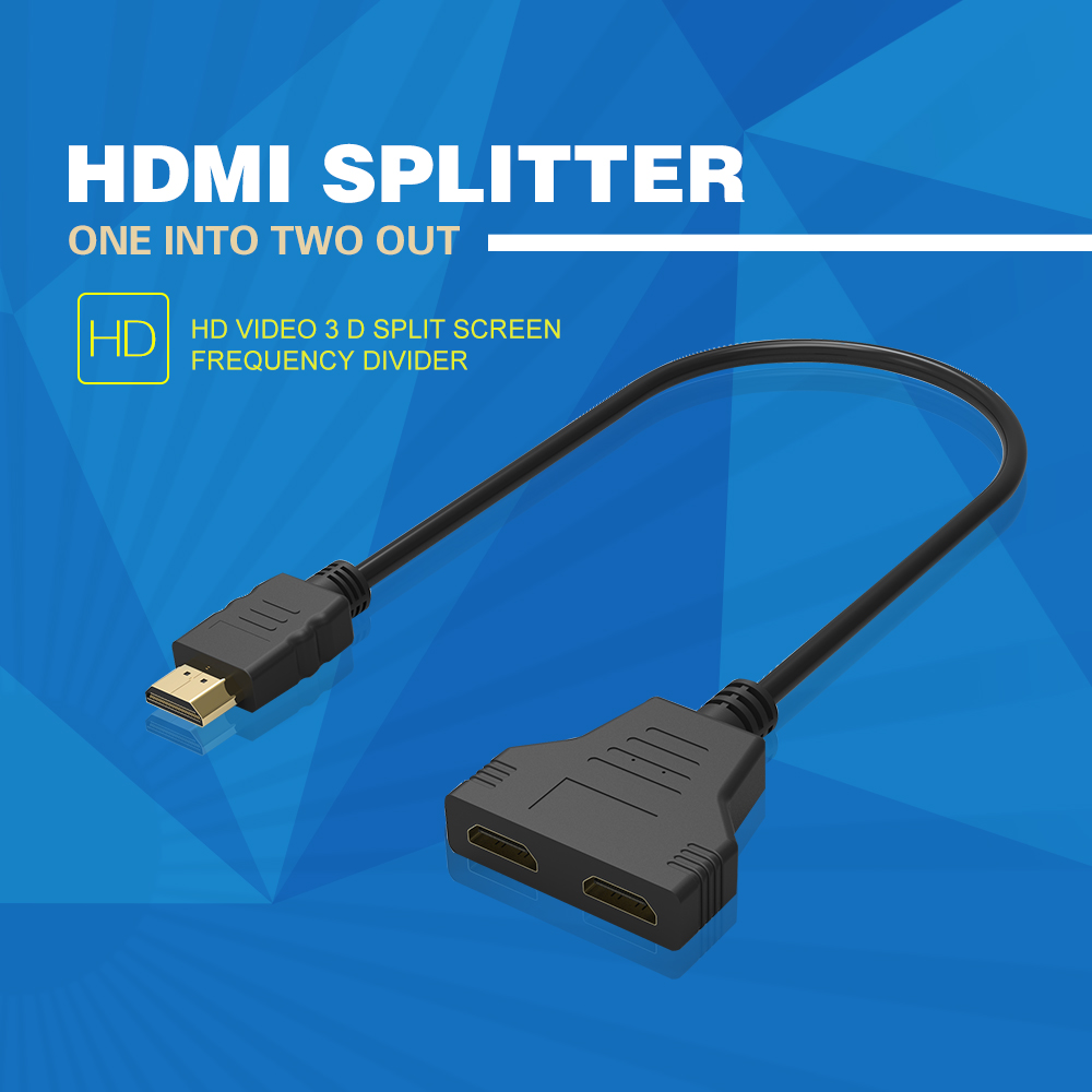 1080P HDMI To Dual HDMI Female Y Splitter Cable Amplified Adapter for HD TV LCD